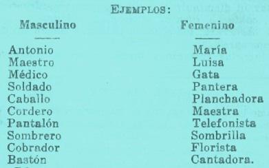 Ejemplos De Sustantivos De Genero Masculino Y Femenino